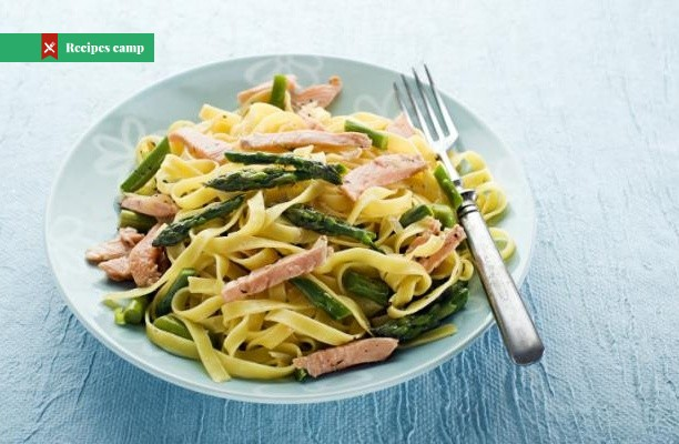 Recipe  Asparagus, broad bean and smoked salmon pasta