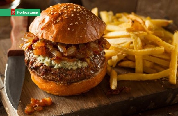 Recipe  Bacon Blue Cheese Burger with Caramelized Onions