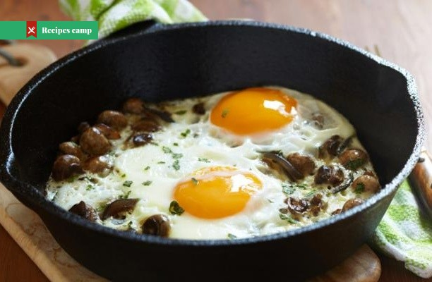 Recipe  Baked Eggs with Spinach, Mushrooms, and Leeks