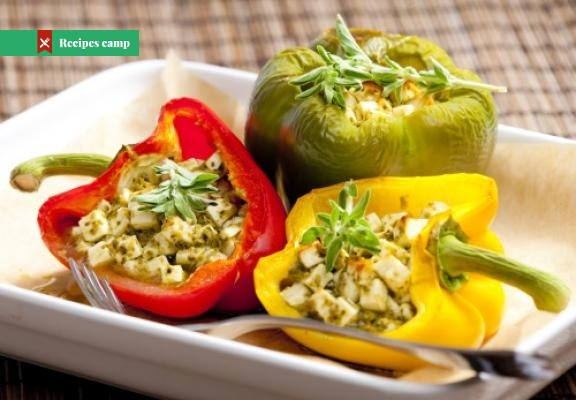 Recipe  Baked peppers with blue cheese