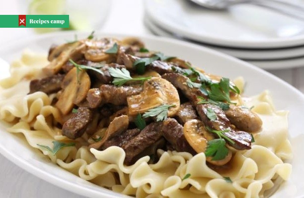 Recipe  Beef Stroganoff over Buttered Noodles