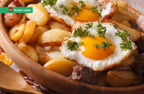 Recipe  Fried Potatoes with Poached Eggs
