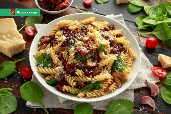 Recipe  Pasta with homemade pesto from sun-dried tomatoes
