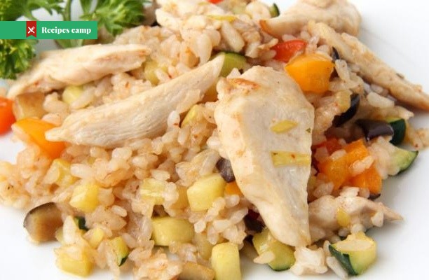 Recipe  Rice salad with chicken pieces