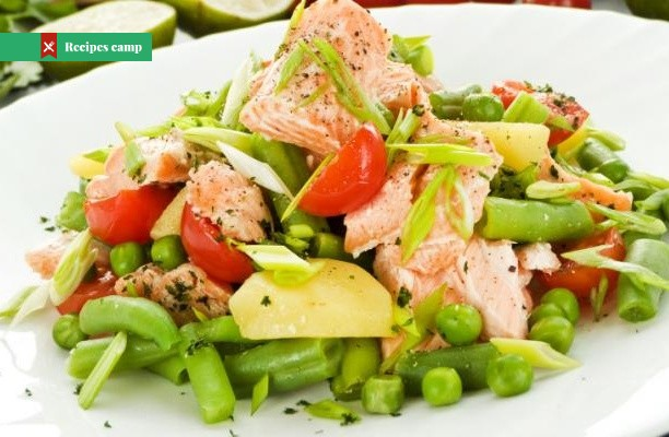 Recipe  Spring salmon with minty veg