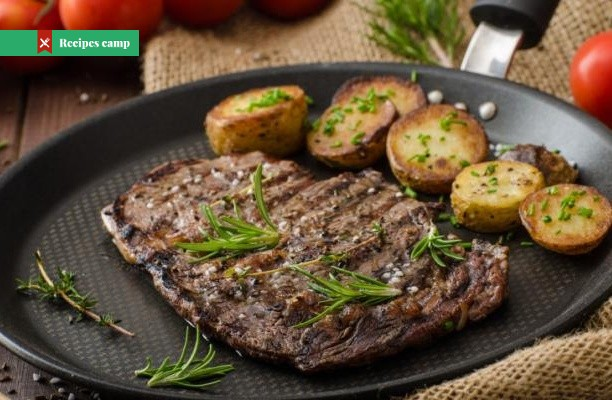 Recipe  Steak and tomatoes with herb-roasted potatoes