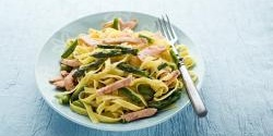Asparagus, broad bean and smoked salmon pasta