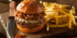 Bacon Blue Cheese Burger with Caramelized Onions