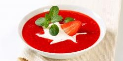 Rhubarb, Ginger, and Strawberry Soup