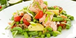 Spring salmon with minty veg