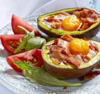 Avocado eggs with bacon