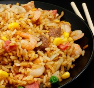 Bacon, Egg and Shrimp Fried Rice