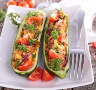 Chicken Enchilada–Stuffed Zucchini Boats
