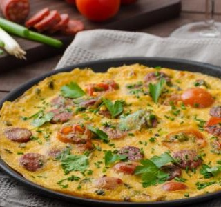 Chorizo sausage omelette