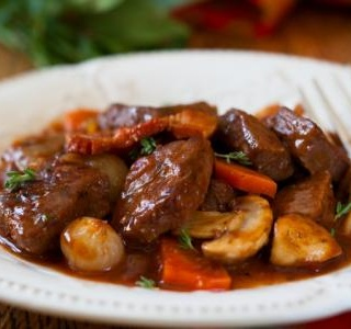 French Boeuf en Daube with mushroom and orange