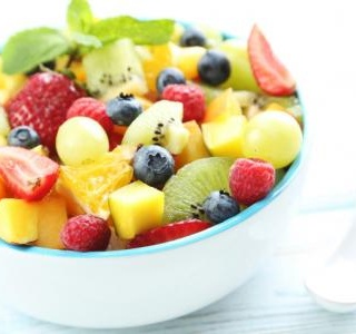 Fruit Salad with Kiwi, Strawberries and Mango