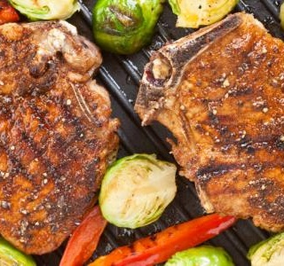 Ginger Glazed Pork Chops Brussels Sprouts