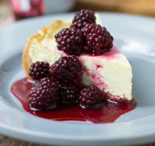 Lemon Cheesecake with Baked Plums & Blackberries