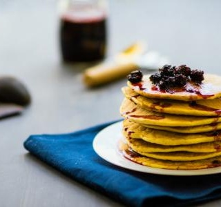 Pancakes with Blueberry-Lemon Compote
