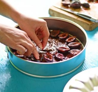 Plum, hazelnut and chocolate cake