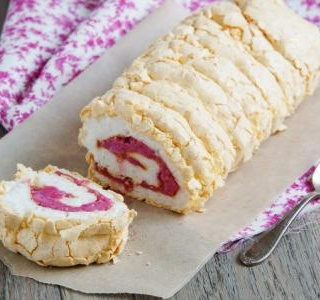 Raspberry and Cherry Pavlova Roll
