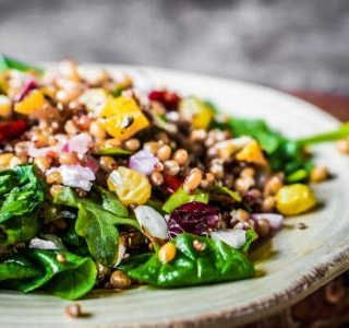 Roasted Veggie, Chickpea and Pesto Quinoa Salad