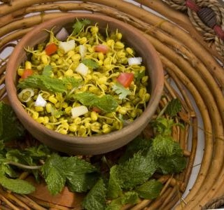 Salad with sprouts, pineapple and coriander
