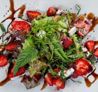 Strawberries Salad with Feta Cheese