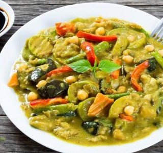 Zucchini in Herbed Coconut Yogurt Curry