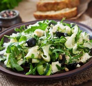 Zucchini salad with feta cheese