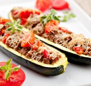 Zucchini stuffed with minced meat