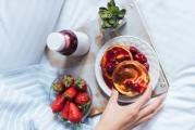 Fluffy Mother's day pancakes with cherry-berry syrup