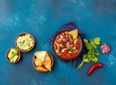 Mexican black bean tortilla soup with avocado
