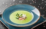 Pea cream with bacon